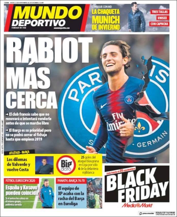 Portada Mundo Deportivo 22/11/2018