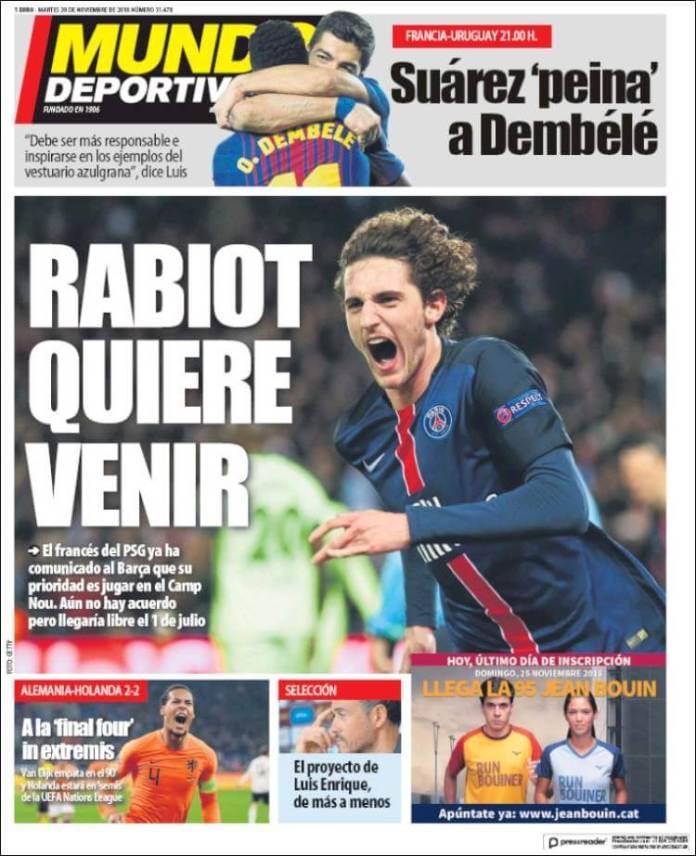 Portada Mundo Deportivo 20/11/2018