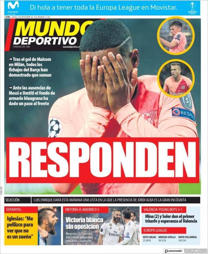 Portada Mundo Deportivo 8/11/2018