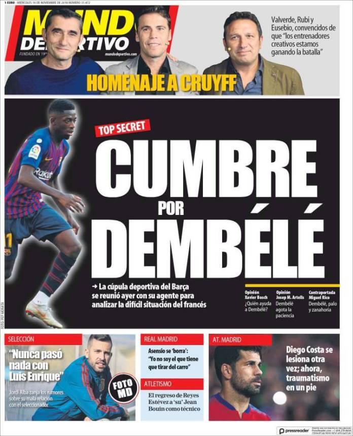 Portada Mundo Deportivo 14/11/2018