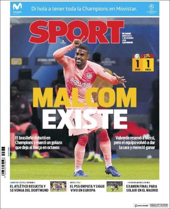 Portada Sport 7/11/2018