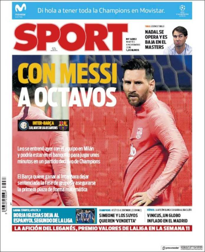 Portada Sport 6/11/2018