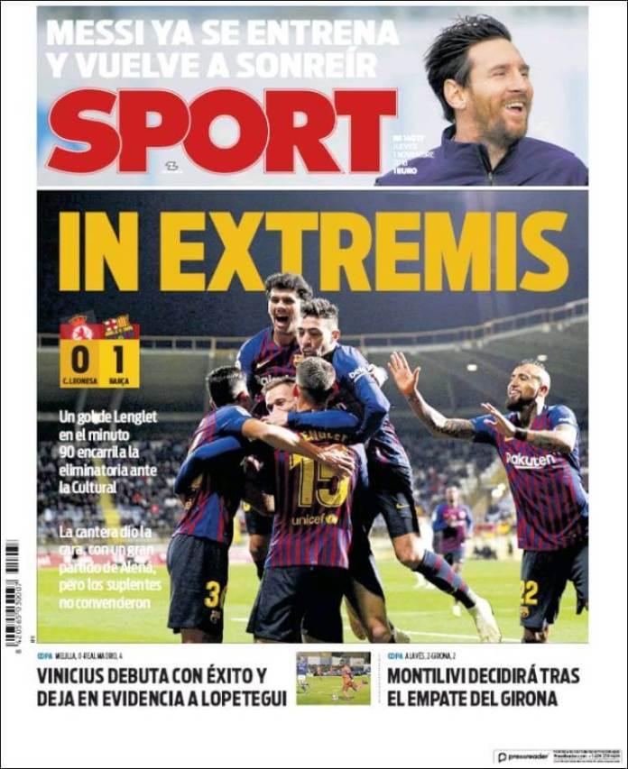 Portada Sport 1/11/2018
