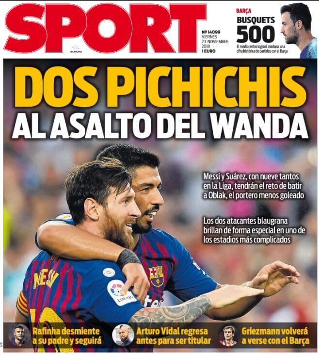 Portada Sport 23/11/2018