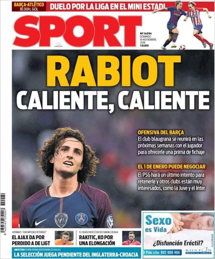 Portada Sport 18/11/2018