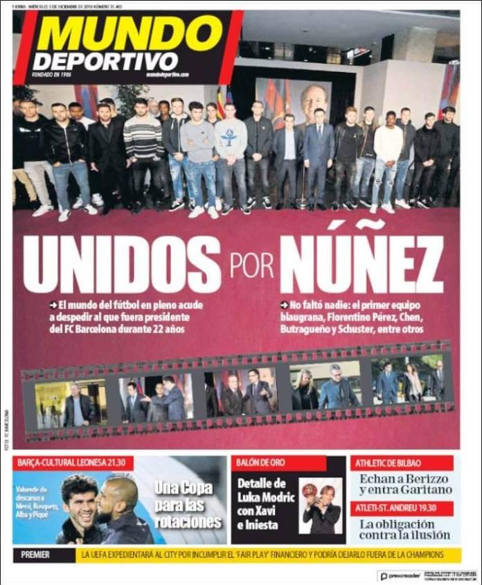 Portada Mundo Deportivo 5/12/2018