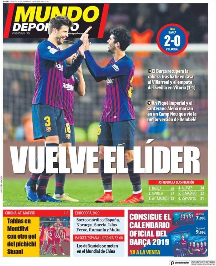 Portada Mundo Deportivo 3/12/2018