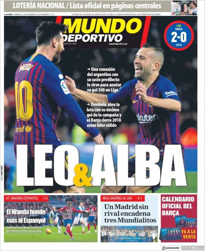 Portadas Mundo Deportivo 23/12/2018