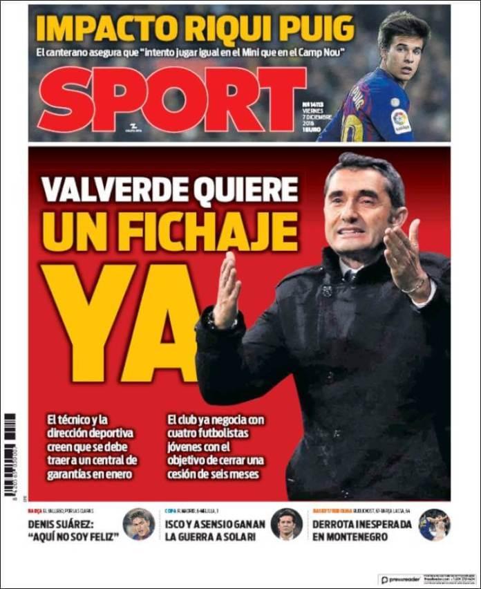 Portada Sport 7/12/2018