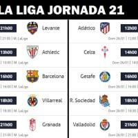 Partidos Jornada 21 Liga Española 2020 | Horarios y Clasificación