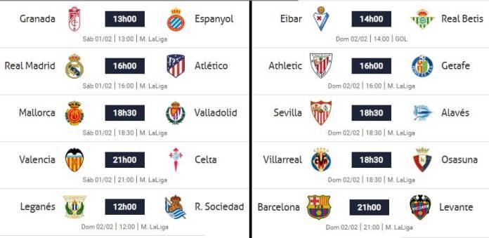 Partidos Jornada 22 Liga Española 2020
