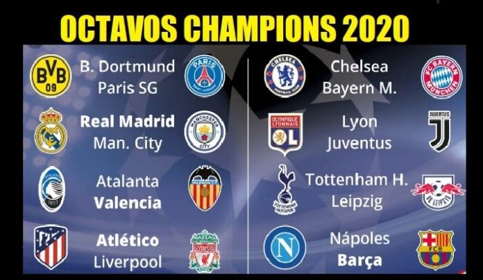 Fixture Octavos Champions 2020