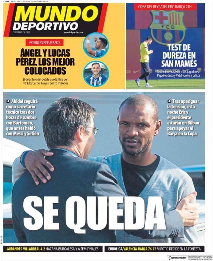 Portada diario Mundo Deportivo 6 de febrero de 2020