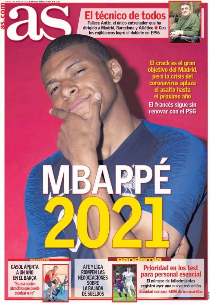 Portadas Diario as Martes 7/04/2020