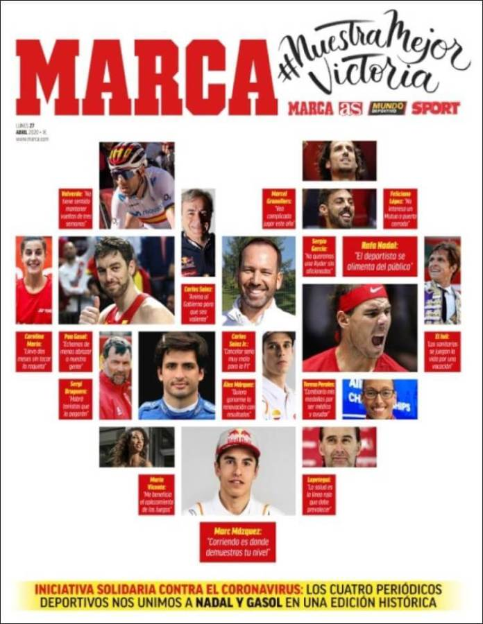 Portadas Diarios Deportivos Lunes 27/04/2020