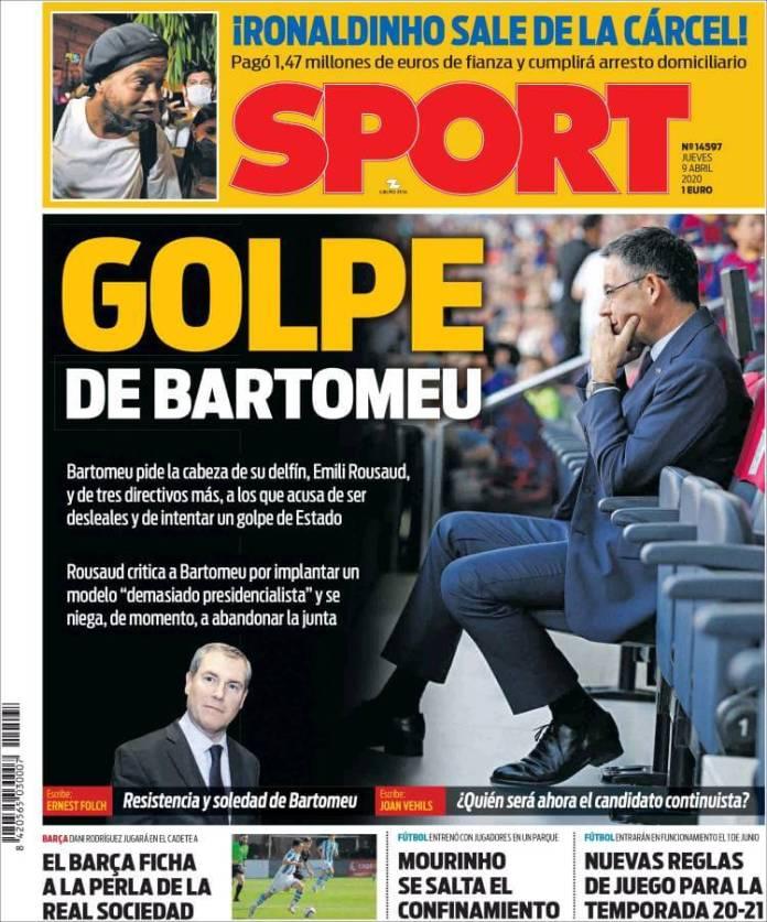 Portadas Diarios Deportivos Jueves 9/04/2020