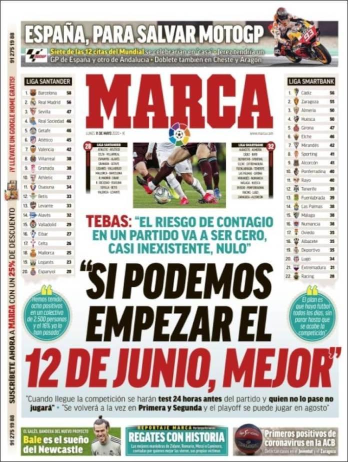 Portadas Diarios Deportivos Lunes 11/05/2020