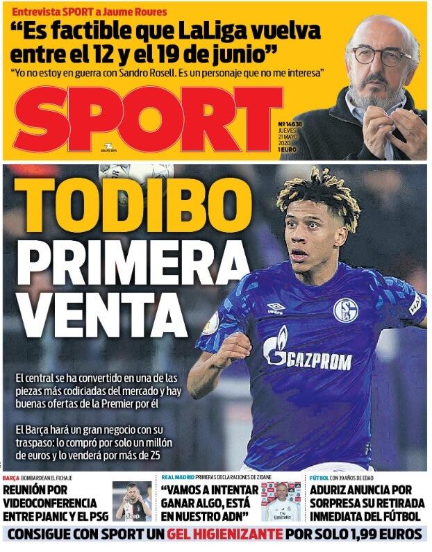 Portadas Diarios Deportivos Jueves 21/05/2020