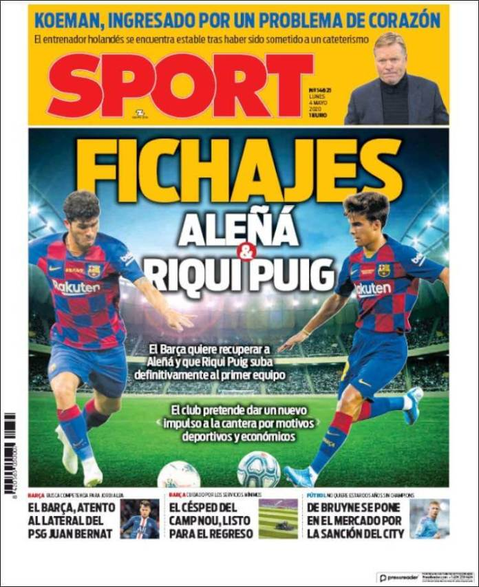 Portadas Diarios Deportivos Lunes 4/05/2020