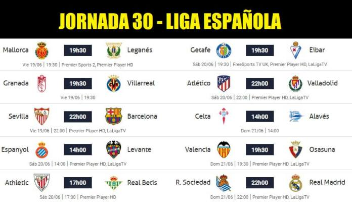 Partidos Jornada 30 Liga Española 2020   Horarios y Clasificación