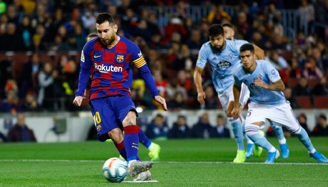 messi pateando un penal contra el celta de vigo Celta Vs Barcelona