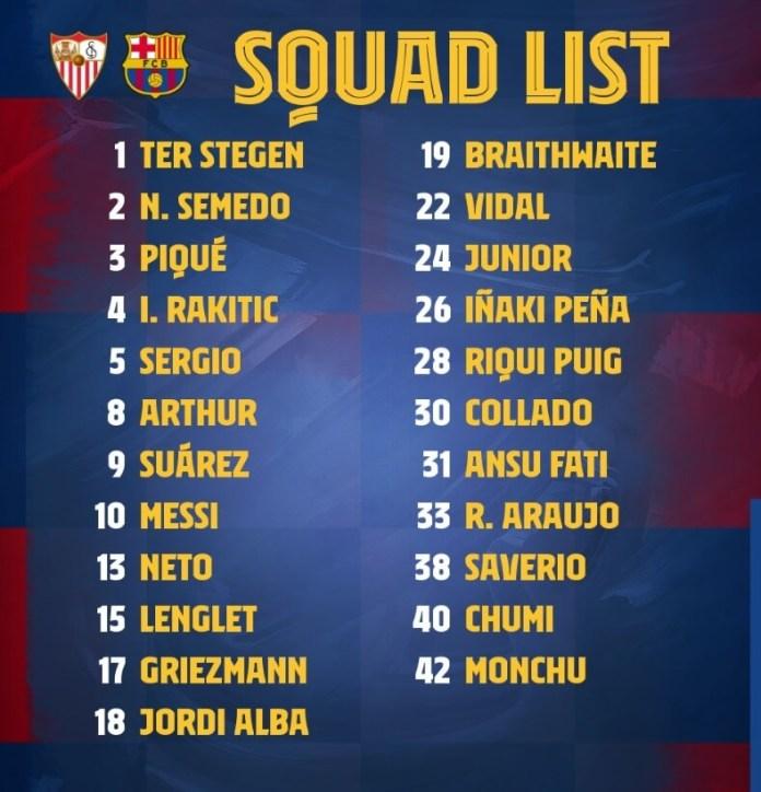 Los 23 Convocados para el Sevilla-Barcelona