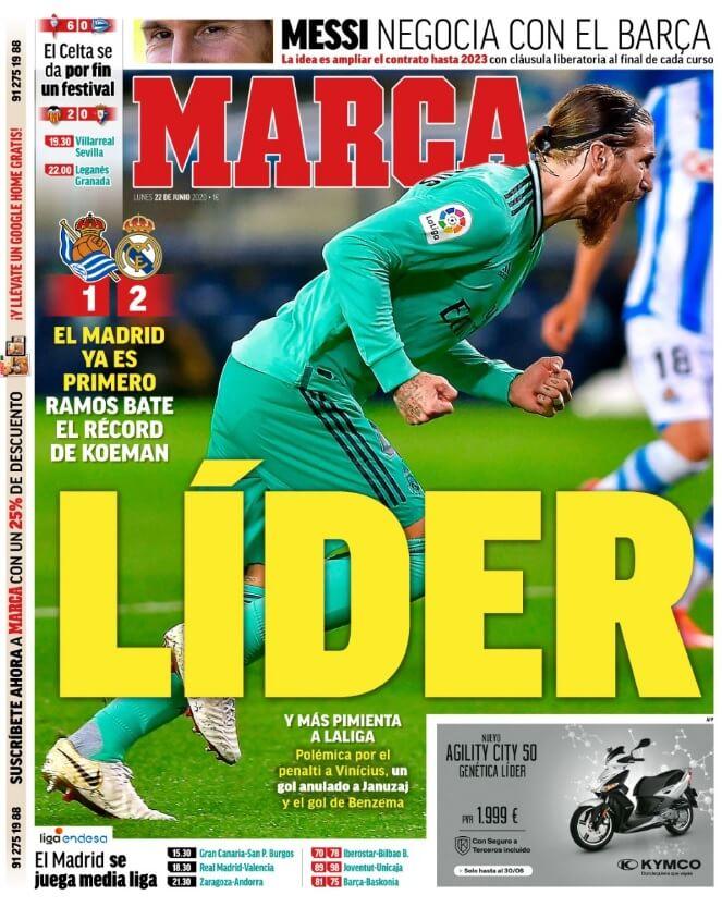 Portadas Diarios Deportivos Lunes 22/06/2020