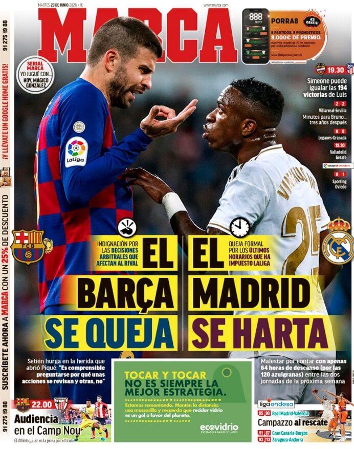 Portadas Diarios Deportivos Martes 23/06/2020