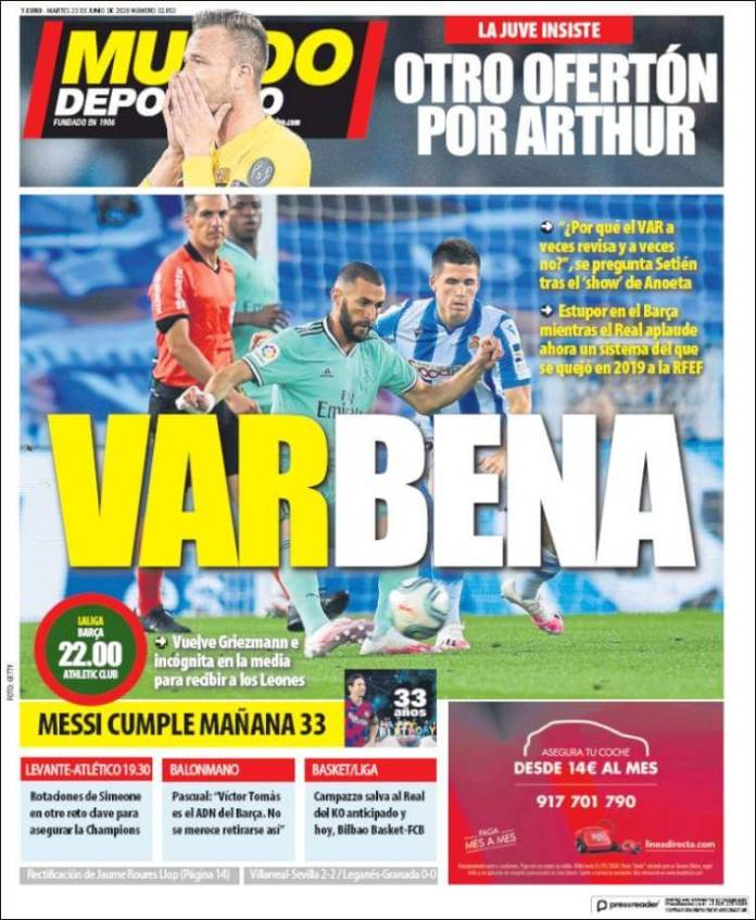 Portadas Diarios Deportivos Martes 23/06/2020 | Marca, As, Sport, Mundo Deportivo