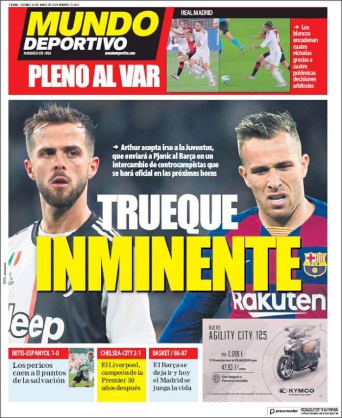 Portadas Diarios Deportivos Viernes 26/06/2020