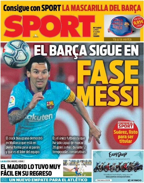 Portadas Diarios Deportivos Lunes 15/06/2020