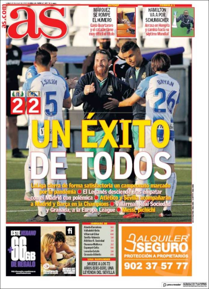 Portadas Diarios Deportivos Lunes 20/07/2020