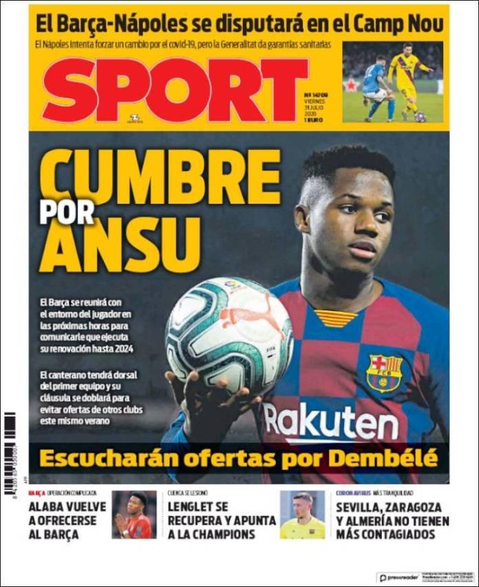 Portadas Diarios Deportivos Viernes 31/07/2020