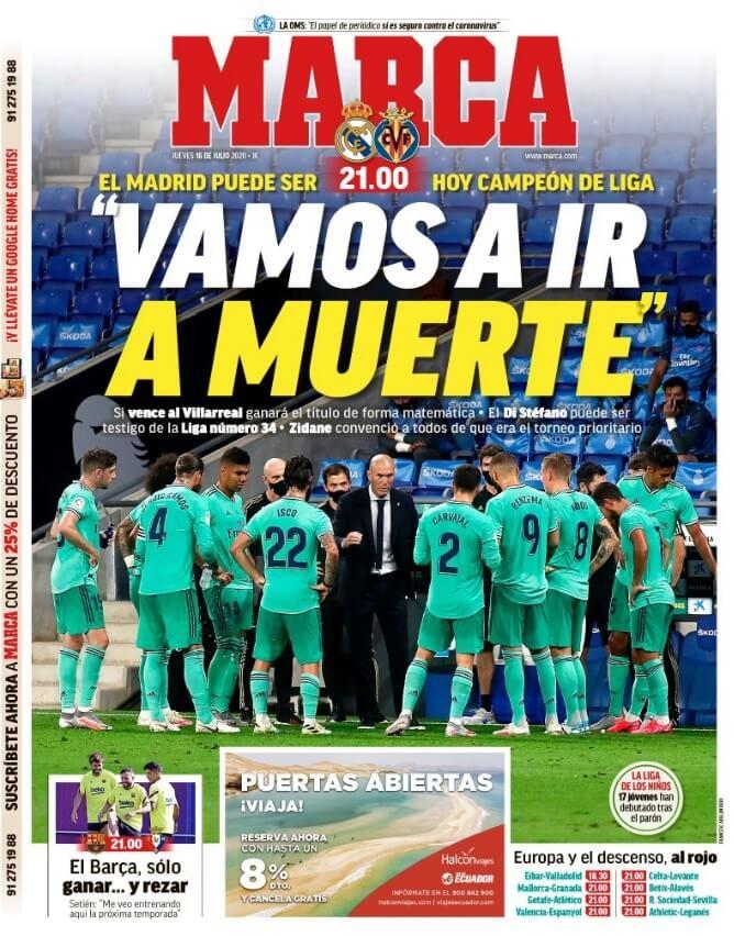 Portadas Diarios Deportivos Jueves 16/07/2020