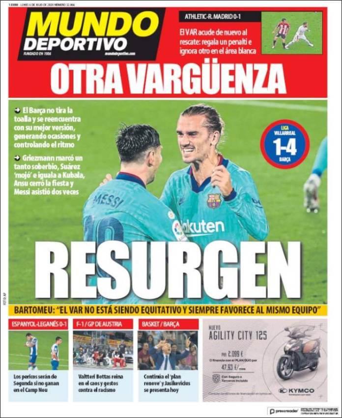 Portadas Diarios Deportivos Lunes 6/07/2020
