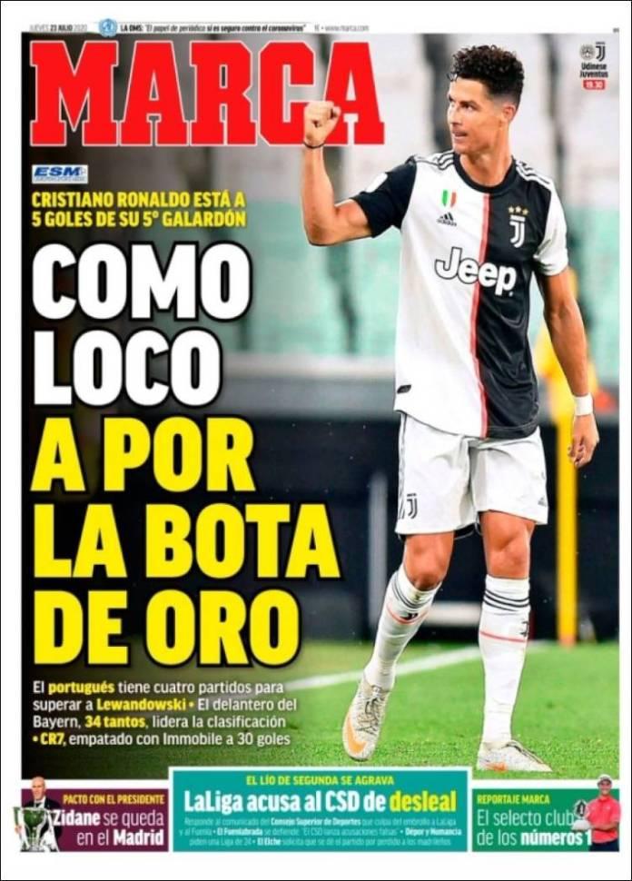 Portadas Diarios Deportivos Jueves 23/07/2020