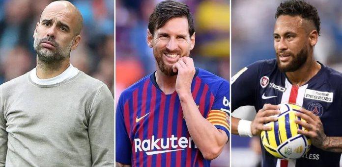 Pep Guardiola Messi y Neyamr Jr.