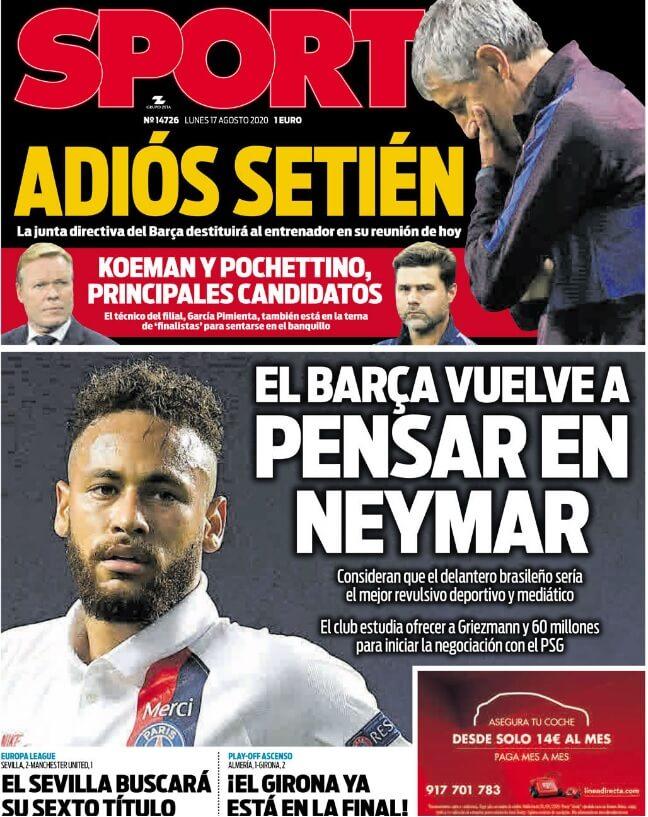 Portadas Diarios Deportivos Lunes 17/08/2020