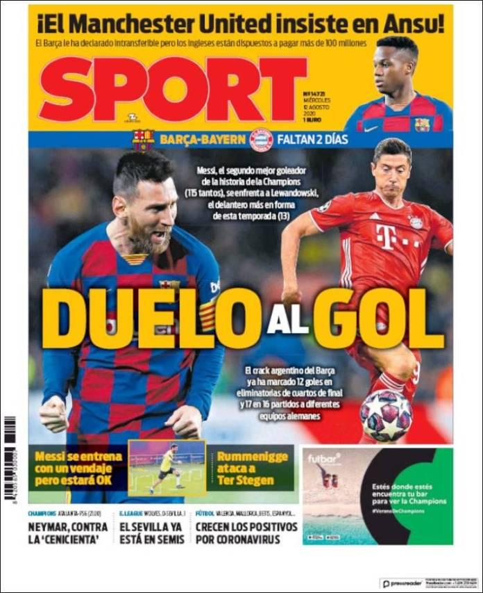 Portadas Diarios Deportivos Miércoles 12/08/2020