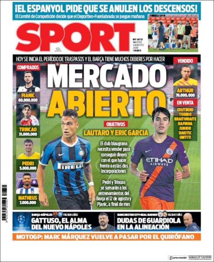 Portadas Diarios Deportivos Martes 4/08/2020