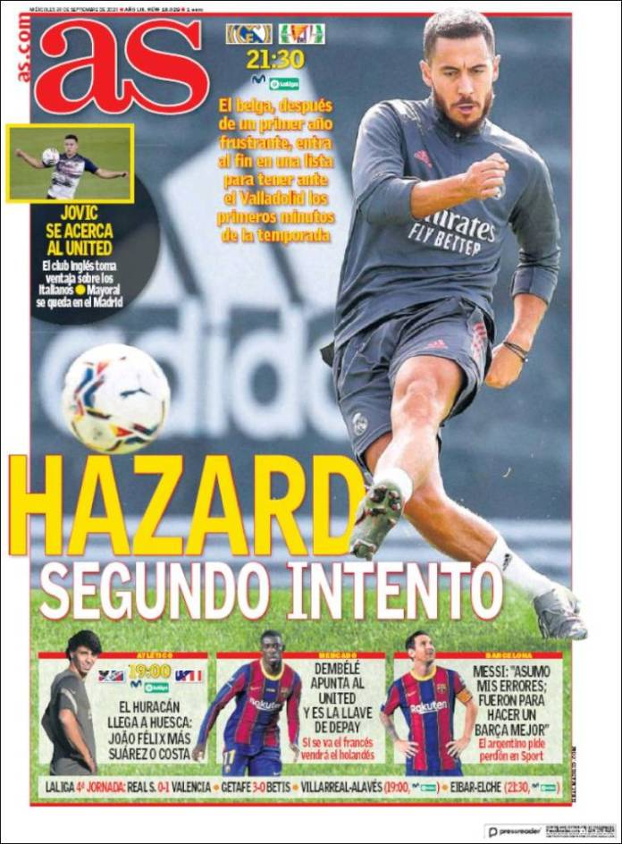 Portadas Diarios Deportivos Miércoles 30/09/2020