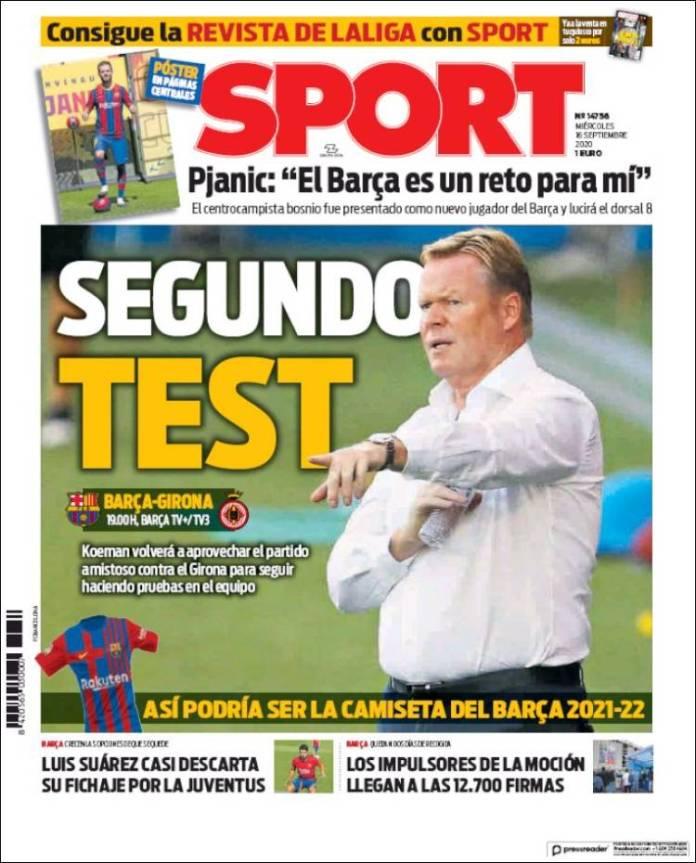 Portadas Diarios Deportivos Miércoles 16/09/2020