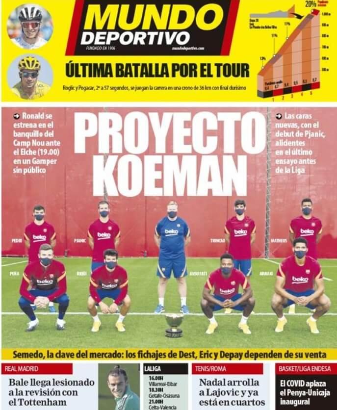 Portadas Diarios Deportivos Sábdo 19/09/2020