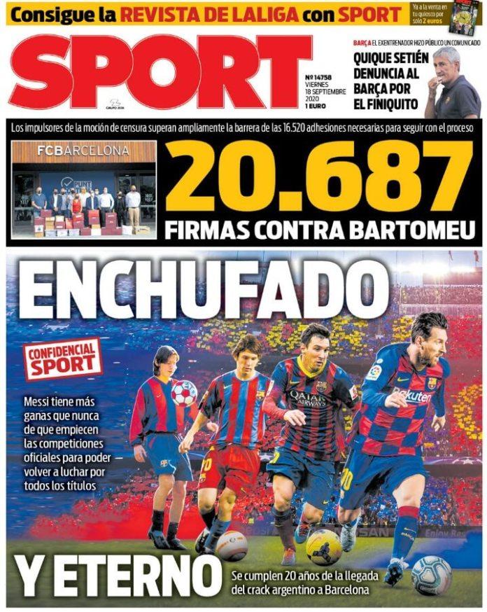 Portadas Diarios Deportivos Viernes 18/09/2020