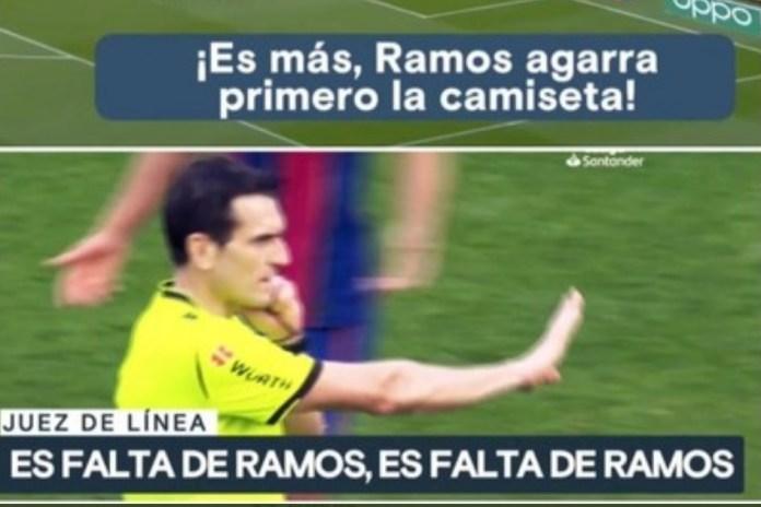 ¡El asistente avisó a Munuera que era falta de Ramos!