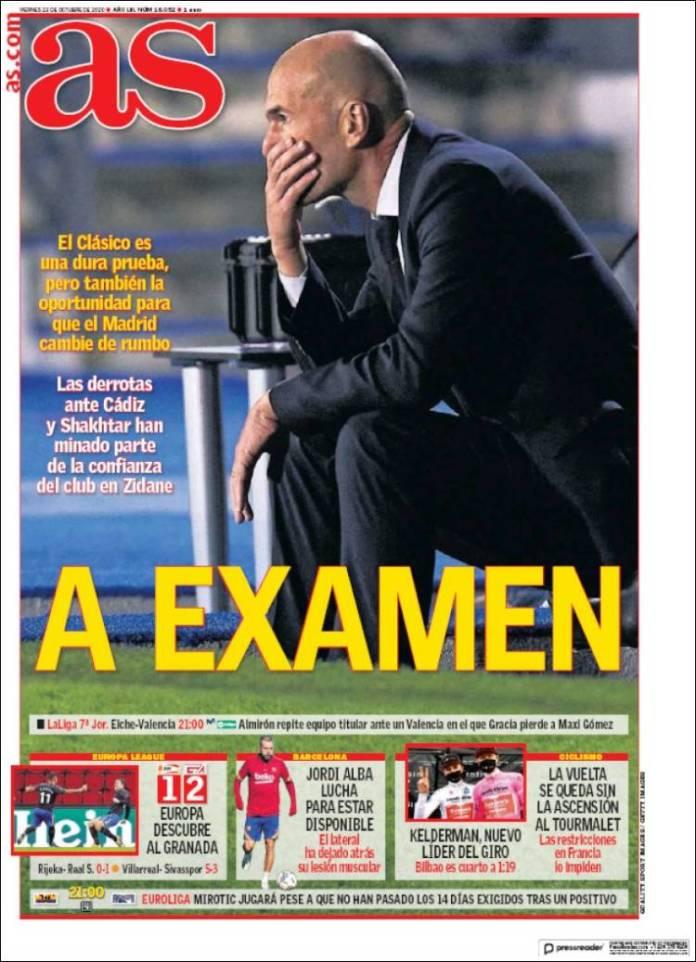 Portadas Diarios Deportivos Viernes 23/10/2020
