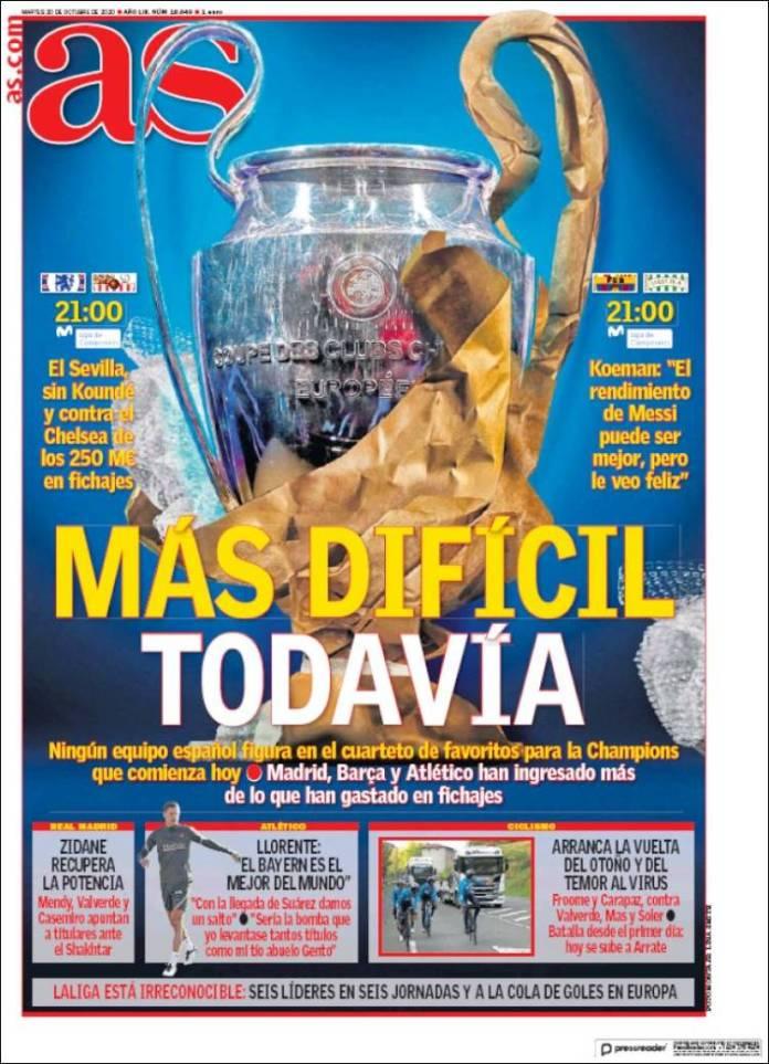 Portadas Diarios Deportivos Martes 20/10/2020