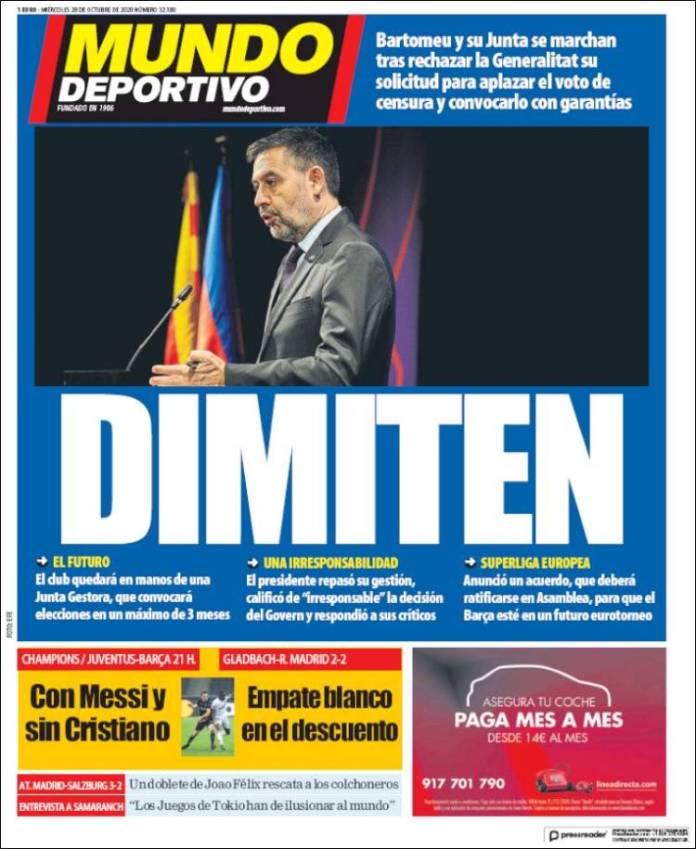 Portadas Diarios Deportivos Miércoles 28/10/2020