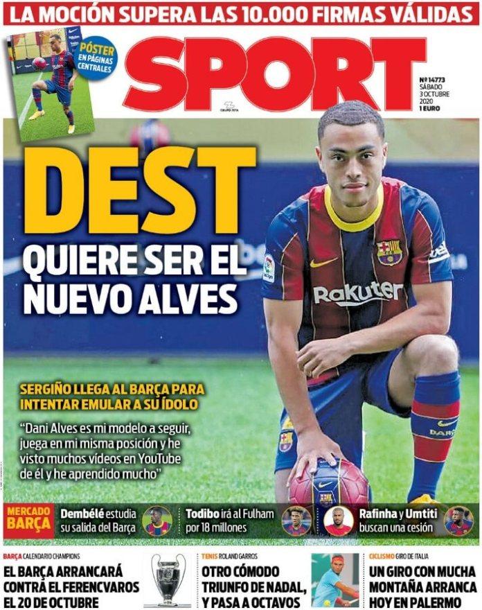 Portadas Diarios Deportivos Sábado 3/10/2020