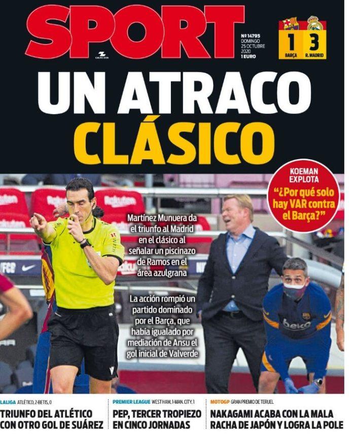 Portadas Diarios Deportivos Domingo 25/10/2020